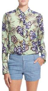 Alice + Olivia And Floral Silk Top Green