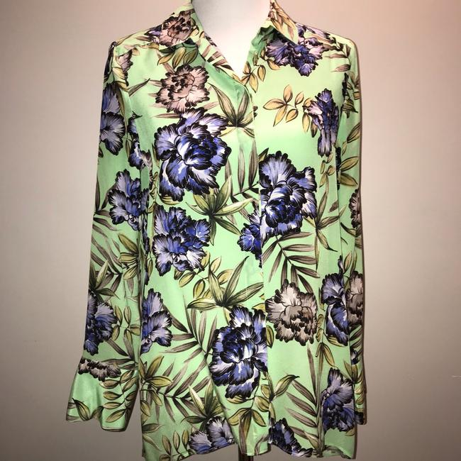 Alice + Olivia And Floral Silk Top Green Image 1