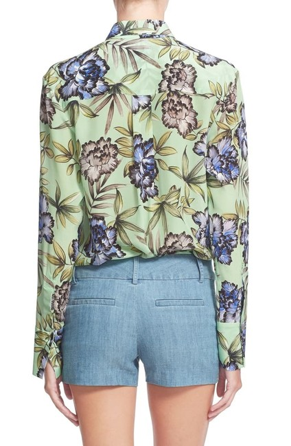 Alice + Olivia And Floral Silk Top Green Image 2