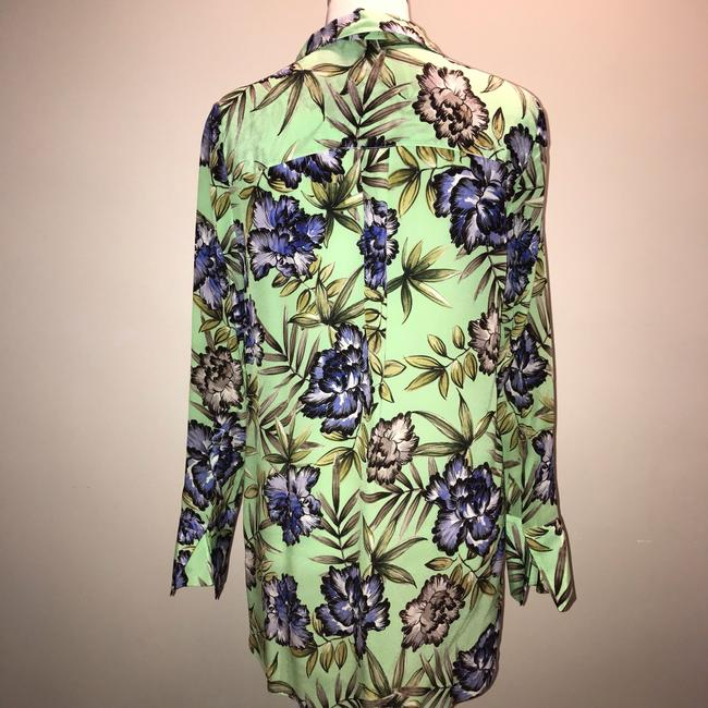 Alice + Olivia And Floral Silk Top Green Image 3