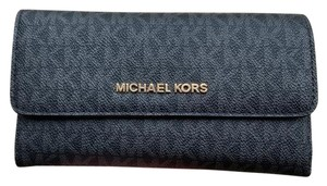 Michael Kors Michael Kors Jet Set Travel Large Trifold Wallet Black MK (Gold)
