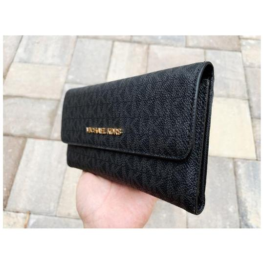Michael Kors Michael Kors Jet Set Travel Large Trifold Wallet Black MK (Gold) Image 1
