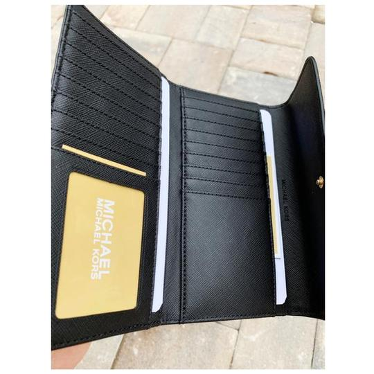 Michael Kors Michael Kors Jet Set Travel Large Trifold Wallet Black MK (Gold) Image 3