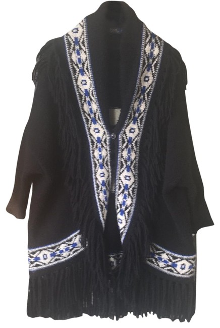 Preload https://img-static.tradesy.com/item/25897232/ralph-lauren-blue-label-mostly-black-with-and-white-design-na-ponchocape-size-2-xs-0-1-650-650.jpg