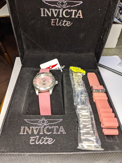 Invicta New Invicta Elite Watch Set 3 Bands Pink Silver Mot of Pearl Face B27 Image 1