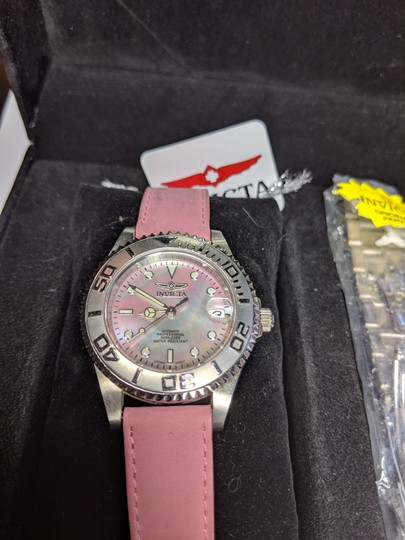 Invicta New Invicta Elite Watch Set 3 Bands Pink Silver Mot of Pearl Face B27 Image 2