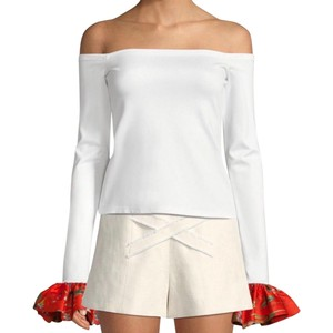 Alexis Open Shoulder Longsleeve Floral Stretchy Top White