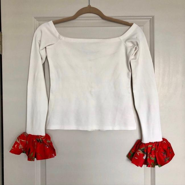 Alexis Open Shoulder Longsleeve Floral Stretchy Top White Image 1