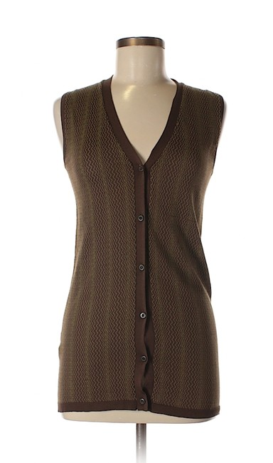 Item - Printed Knit Silk Brown Button-up Vest Cardigan 42 Multicolor Sweater