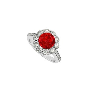 Marco B 14K White Gold July Birthstone Ruby and Cubic Zirconia Halo Engagement