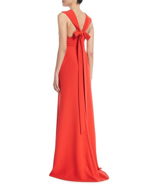 Item - Red Deep V Sleeveless Bow Detail Trumpet Evening Gown Long Formal Dress Size 12 (L)