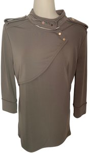 Ann Taylor Knit Epaulette Tunic Pullover Top taupe