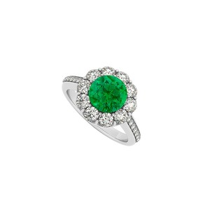 Marco B 14K White Gold May Birthstone Emerald and Cubic Zirconia Halo