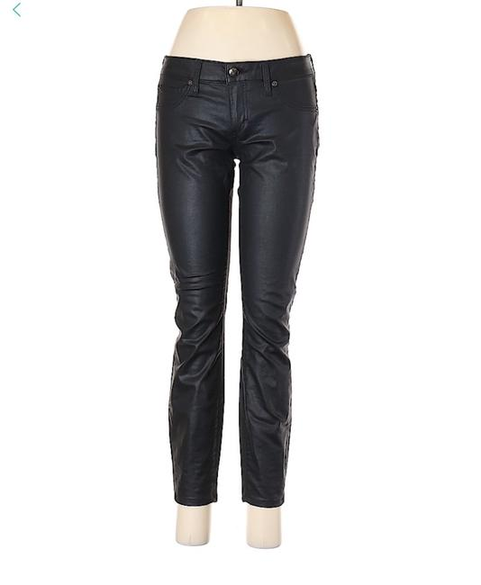 bebe Jegging Zippered Mid Rise Crop Skinny Jeans-Coated Image 2