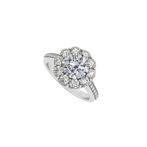 Marco B April Birthstone Cubic Zirconia Halo 14K White Gold Engagement Ring