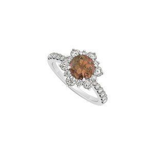 Marco B 14K White Gold June Birthstone Smoky Quartz and Cubic Zirconia Floral