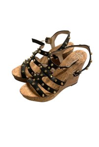 MICHAEL Michael Kors black and gold straps Wedges