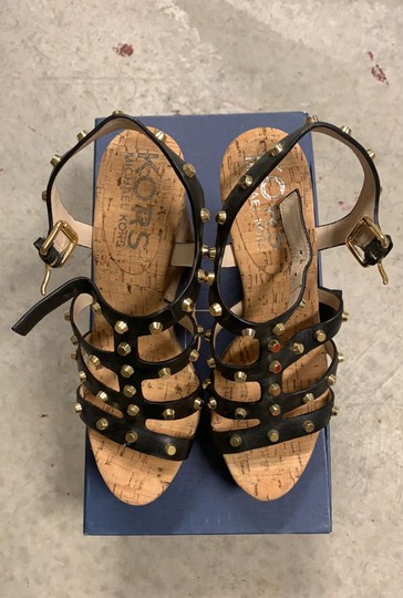 MICHAEL Michael Kors black and gold straps Wedges Image 2