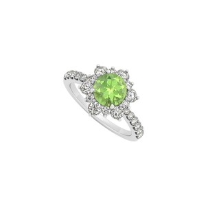 Marco B 14K White Gold August Birthstone Peridot and Cubic Zirconia Floral