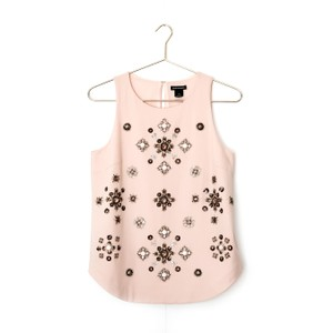 Club Monaco Embellished Beaded Floral Sleeveless Sequin Top pink