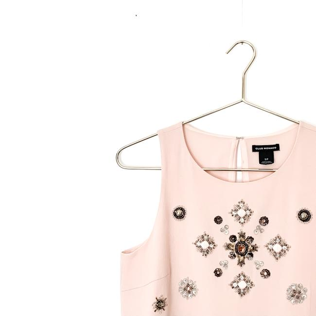 Club Monaco Embellished Beaded Floral Sleeveless Sequin Top pink Image 3
