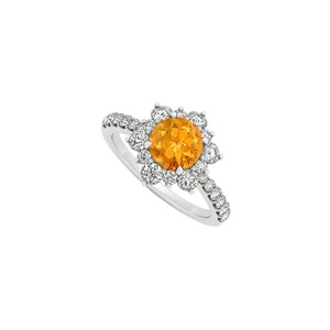Marco B 14K White Gold November Birthstone Citrine and Cubic Zirconia Floral