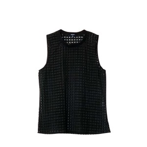 Madewell Gingham Sheer Preppy Textured Striped Top black