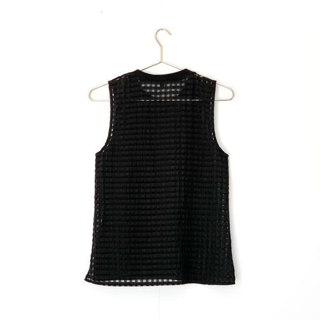 Madewell Gingham Sheer Preppy Textured Striped Top black Image 1