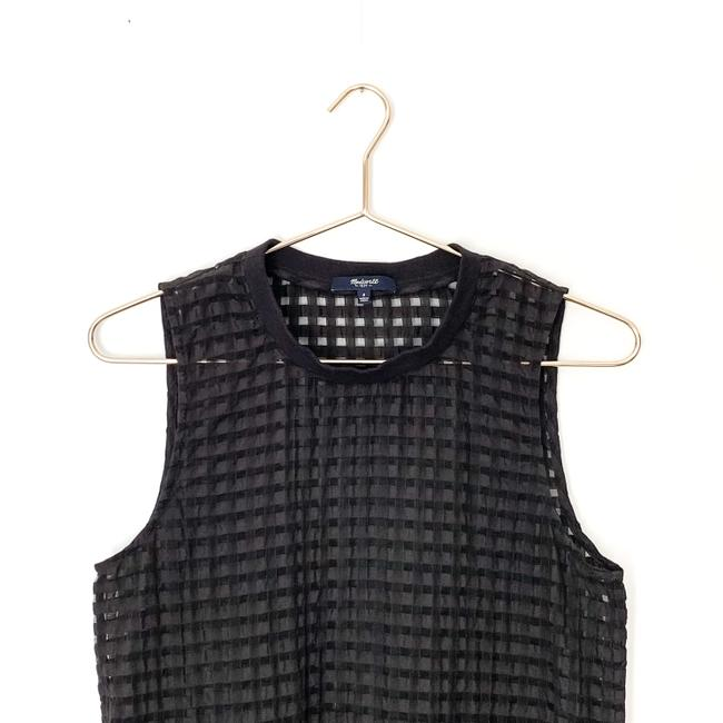 Madewell Gingham Sheer Preppy Textured Striped Top black Image 2