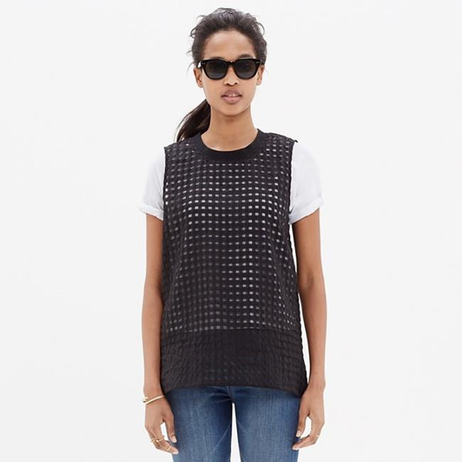 Madewell Gingham Sheer Preppy Textured Striped Top black Image 6