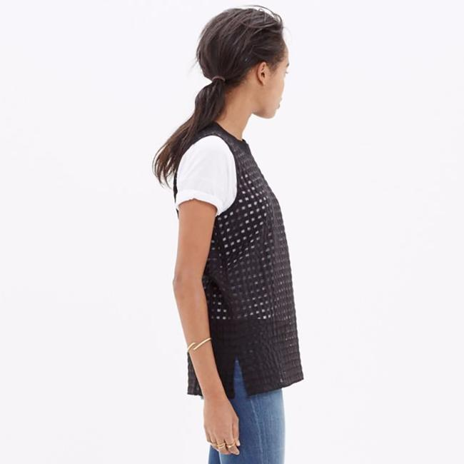 Madewell Gingham Sheer Preppy Textured Striped Top black Image 7