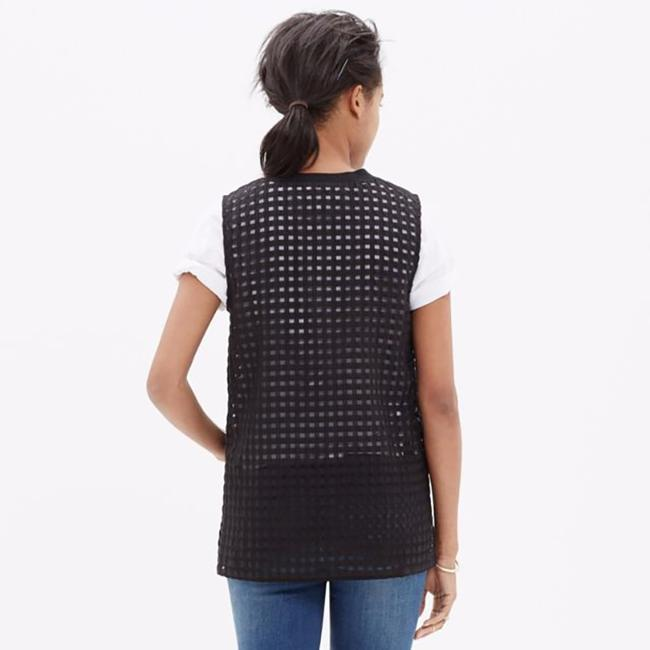 Madewell Gingham Sheer Preppy Textured Striped Top black Image 8