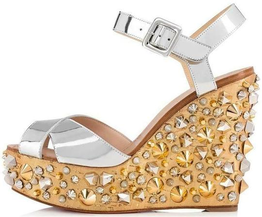 Christian Louboutin Wedding Studded Spiked Cork Silver Sandals Image 1