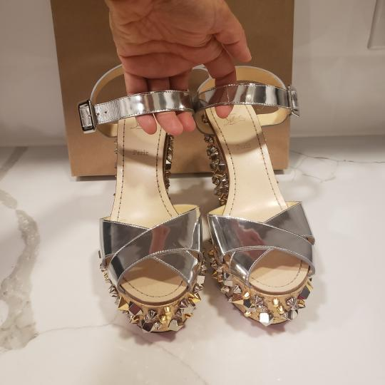 Christian Louboutin Wedding Studded Spiked Cork Silver Sandals Image 2