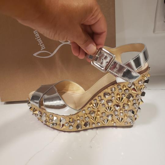Christian Louboutin Wedding Studded Spiked Cork Silver Sandals Image 3