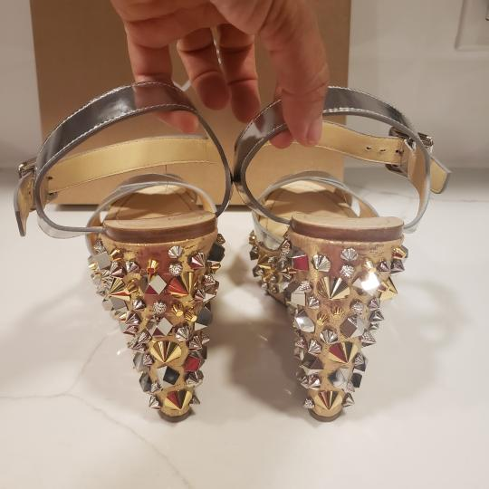 Christian Louboutin Wedding Studded Spiked Cork Silver Sandals Image 4