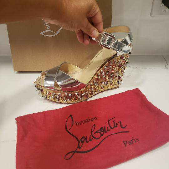 Christian Louboutin Wedding Studded Spiked Cork Silver Sandals Image 5
