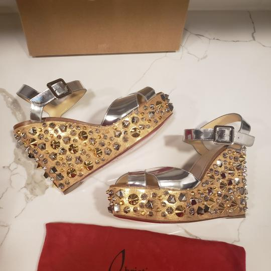Christian Louboutin Wedding Studded Spiked Cork Silver Sandals Image 6