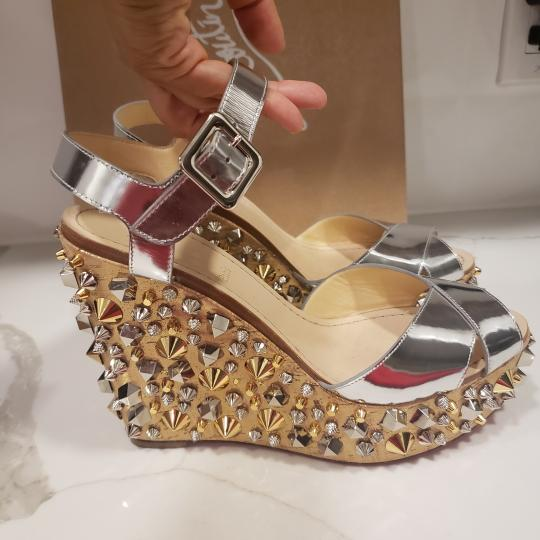 Christian Louboutin Wedding Studded Spiked Cork Silver Sandals Image 7