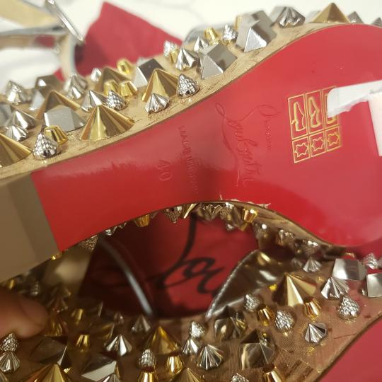 Christian Louboutin Wedding Studded Spiked Cork Silver Sandals Image 8