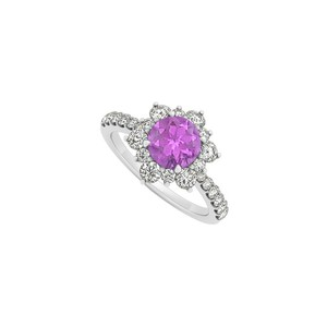 Marco B 14K White Gold February Birthstone Amethyst and Cubic Zirconia
