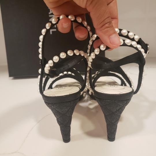 Chanel Pearl Strappy Black Sandals Image 3