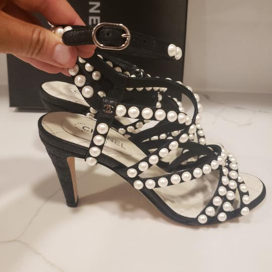 Chanel Pearl Strappy Black Sandals Image 7