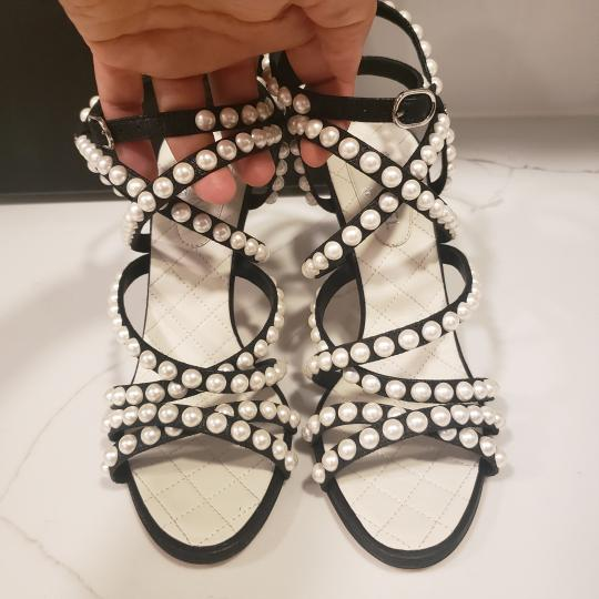 Chanel Pearl Strappy Black Sandals Image 8