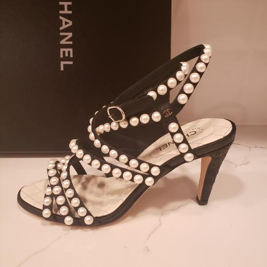 Chanel Pearl Strappy Black Sandals Image 9