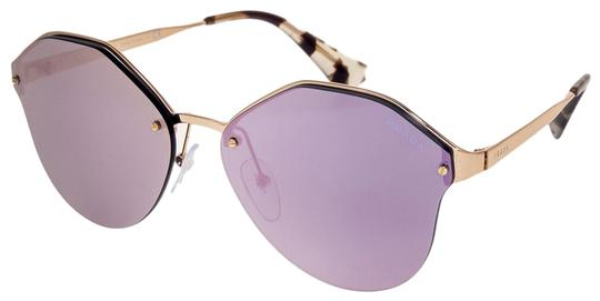 Prada CINEMA Rose Gold Violet Mirrored Metal Oversized Sunglasses 64T PR64TS Image 0