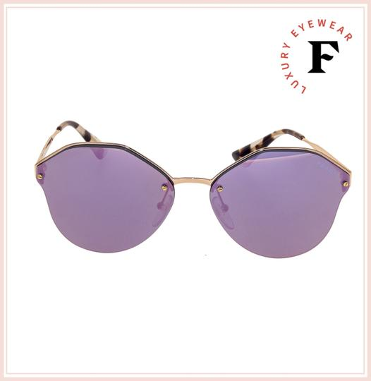 Prada CINEMA Rose Gold Violet Mirrored Metal Oversized Sunglasses 64T PR64TS Image 2