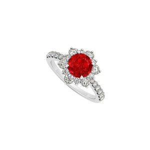Marco B 14K White Gold July Birthstone Ruby and Cubic Zirconia Floral Engageme