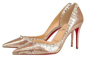 Christian Louboutin Heels Cork Studded Spiked D'orsay Beige Silver Pumps
