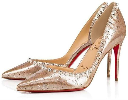 Christian Louboutin Heels Cork Studded Spiked D'orsay Beige Silver Pumps Image 1